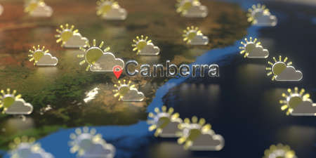 Partly cloudy weather icons near Canberra city on the map, weather forecast related 3D rendering