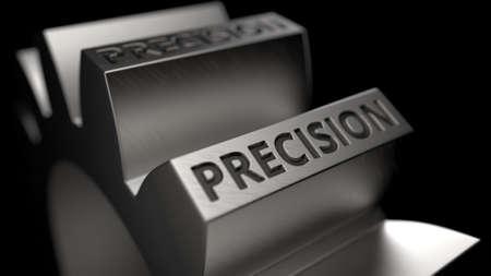 Steel cogwheel with debossed PRECISION text. 3D rendering