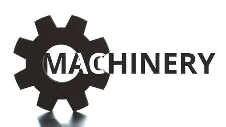 MACHINERY black and white text pops up from the cogwheel