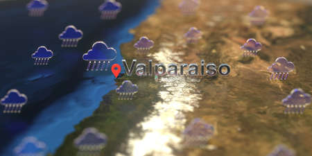 Rainy weather icons near Valparaiso city on the map, weather forecast related 3D rendering Stock fotó