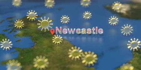 Sunny weather icons near Newcastle city on the map, weather forecast related 3D rendering