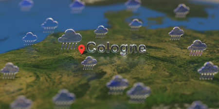 Rainy weather icons near Cologne city on the map, weather forecast related 3D rendering