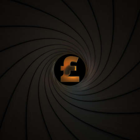 Pound sterling currency symbol as seen behind the rifling of a gun barrel. Crisis or economic threat related conceptual 3D rendering