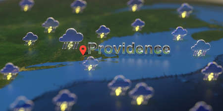 Providence city and stormy weather icon on the map, weather forecast related 3D rendering Stock Photo