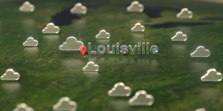 Cloudy weather icons near Louisville city on the map, weather forecast related 3D rendering