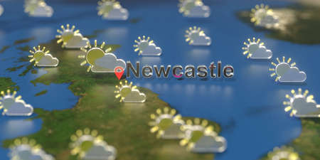 Partly cloudy weather icons near Newcastle city on the map, weather forecast related 3D rendering Stock Photo