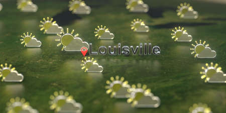 Partly cloudy weather icons near Louisville city on the map, weather forecast related 3D rendering Stock Photo