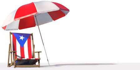 Flag of Puerto Rico on a beach chair under big umbrella. Vacation or travel conceptual 3d rendering