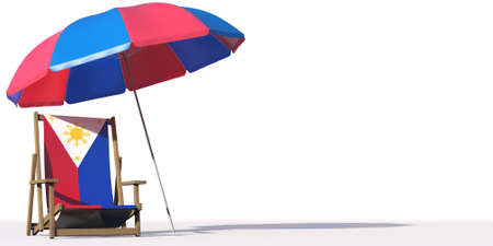 Beach chair with flag of the Philippines and large umbrella. Travel or vacation concepts, 3d rendering