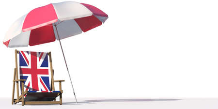 Isolated beach chair with flag of Great Britain and big umbrella, travel or vacation concepts. 3d rendering