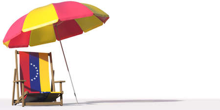 Beach chair with flag of Venezuela and large umbrella. Travel or vacation concepts, 3d rendering