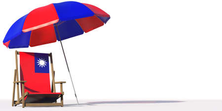 Isolated beach chair with flag of Taiwan and big umbrella on white Фото со стока
