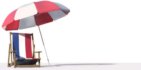 Isolated beach chair with flag of the Netherlands and big umbrella, travel or vacation concepts. 3d rendering