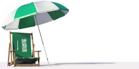 Flag of Saudi Arabia on a beach chair under big umbrella. Vacation or travel conceptual 3d rendering