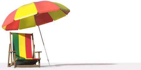 Flag of Bolivia on a beach chair under big umbrella. Vacation or travel conceptual 3d rendering Фото со стока