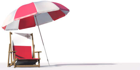 Flag of Malta on a beach chair under big umbrella. Vacation or travel conceptual 3d rendering