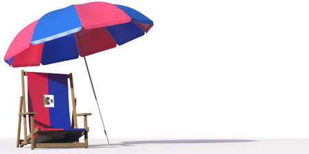 Beach chair with flag of Haiti and large umbrella. Travel or vacation concepts, 3d rendering Фото со стока