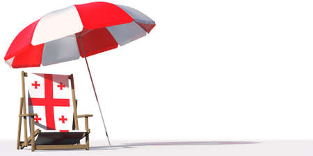 Beach chair with flag of Georgia and large umbrella. Travel or vacation concepts, 3d rendering Фото со стока