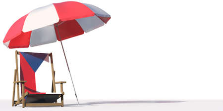 Isolated beach chair with flag of the Czech Republic and big umbrella, travel or vacation concepts. 3d rendering