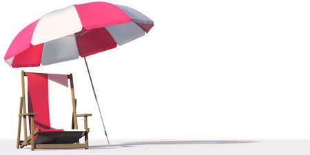 Beach chair with flag of Poland and large umbrella. Travel or vacation concepts, 3d rendering Фото со стока