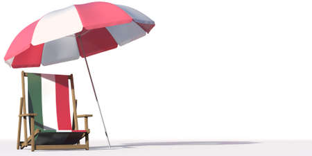 Flag of Hungary on a beach chair under big umbrella. Vacation or travel conceptual 3d rendering