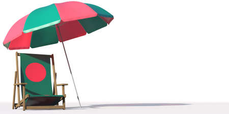 Isolated beach chair with flag of Bangladesh and big umbrella, travel or vacation concepts. 3d rendering