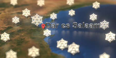 Dar es salaam city and snowy weather icon on the map, weather forecast related 3D rendering