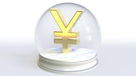 Glass snowball with yen symbol inside. Financial 3d rendering