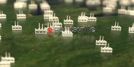 Factory icons near Louisville city on the map, industrial production related 3D rendering