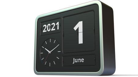 June 1 date on the retro flip clock calendar, 3d rendering Stock fotó