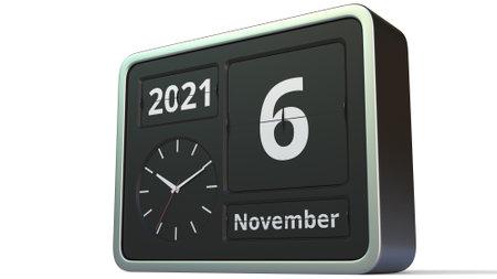 November 6 date on the flip clock calendar, 3d rendering
