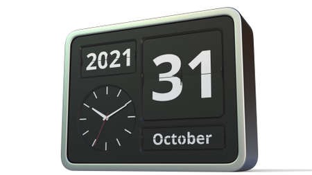 October 31 date on the flip clock calendar, 3d rendering