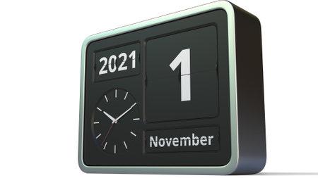 November 1 date on the flip clock calendar, 3d rendering