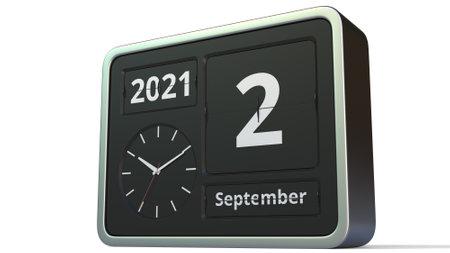 September 2 date on the flip clock calendar, 3d rendering
