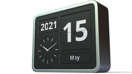 May 15 date on the flip clock calendar, 3d rendering