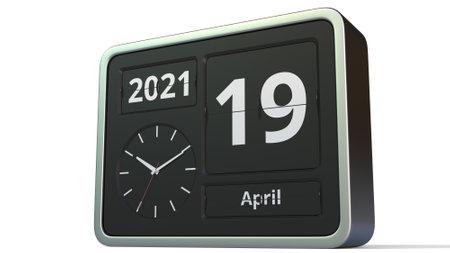 April 19 date on the flip clock calendar, 3d rendering
