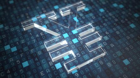 Yen symbol on a blue computer screen background. Fintech or modern digital currency concepts. 3d rendering Reklamní fotografie