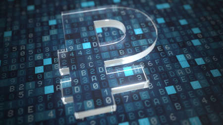 Ruble symbol on a blue computer screen background. Fintech or modern digital currency concepts. 3d rendering Stock Photo