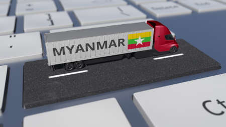 Truck with flag of Myanmar moves on the keyboard key. Export or import related 3d rendering