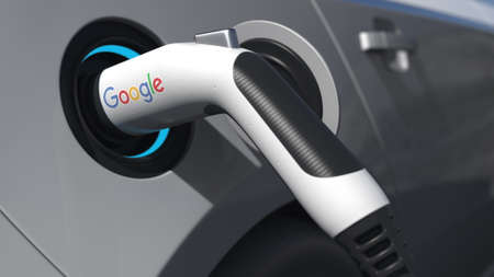 Electric car plug with GOOGLE on it. Editorial conceptual 3d rendering Editorial
