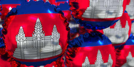 Foil balloons with national flag of Cambodia. Holiday conceptual 3D rendering