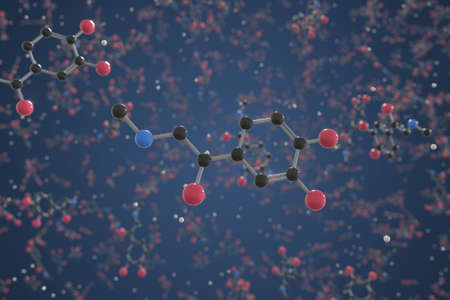 Molecule of Epinephrine. Molecular model, science related 3d rendering 版權商用圖片