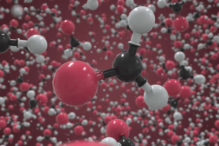 Formaldehyde molecule made with balls, scientific molecular model. Chemical 3d rendering