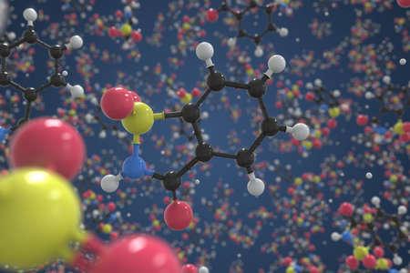 Molecule of saccharin, ball-and-stick molecular model. Scientific 3d rendering