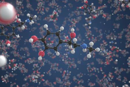 Epinephrine molecule, scientific molecular model, 3d rendering