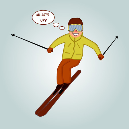skier jumping: Skier jumping pose on winter outdoor background. Skiing people tricks. Special skiing tricks isolated silhouette. skiing tricks vector illustration. Funny Skier.