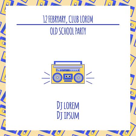 school dance: Old school dance party poster in retro design. Vector illustration.