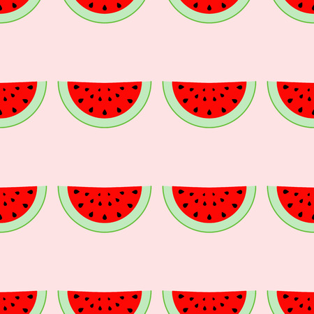 wallop: Colorful seamless pattern of watermelon slices. Vector illustration of summer sliced melon fruits. Eco food illustration. Illustration