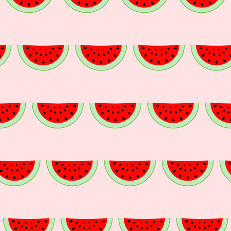 slit: Colorful seamless pattern of watermelon slices. Vector illustration of summer sliced melon fruits. Eco food illustration. Illustration