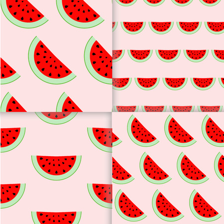 wallop: Colorful seamless patterns of watermelon slices. illustration of summer sliced melon fruits. Eco food illustration.